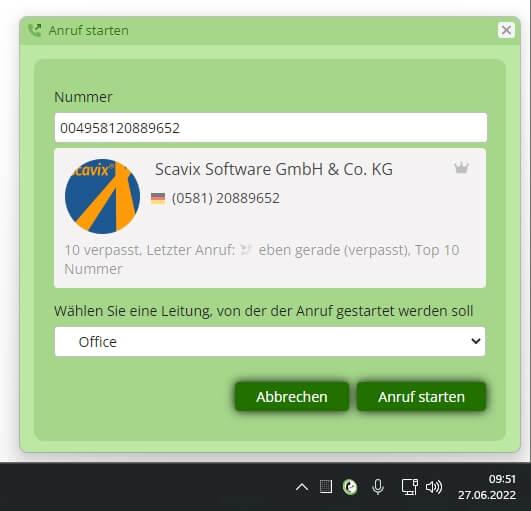 Anruf starten Browsererweiterung