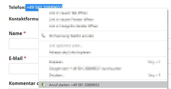 Anruf starten Kontextmenü Browsererweiterung