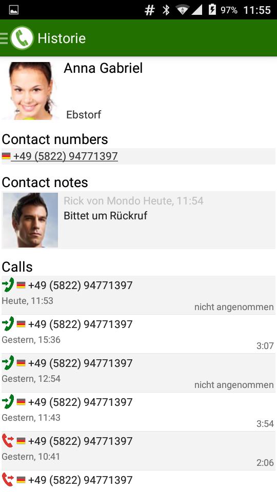PhoneMondo Android App Kontaktdetails