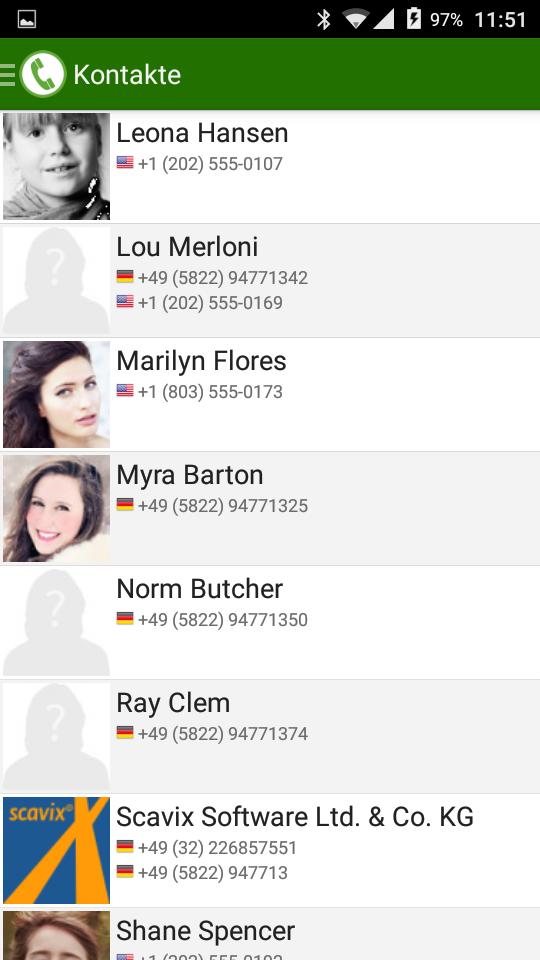 PhoneMondo Android App Kontakte