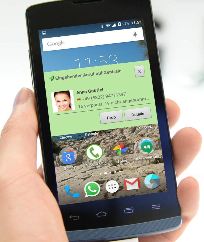 PhoneMondo Android App Benachrichtigung