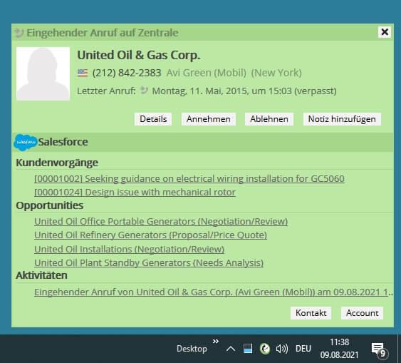 Salesforce Anrufbenachrichtigung mit Zusatzdaten