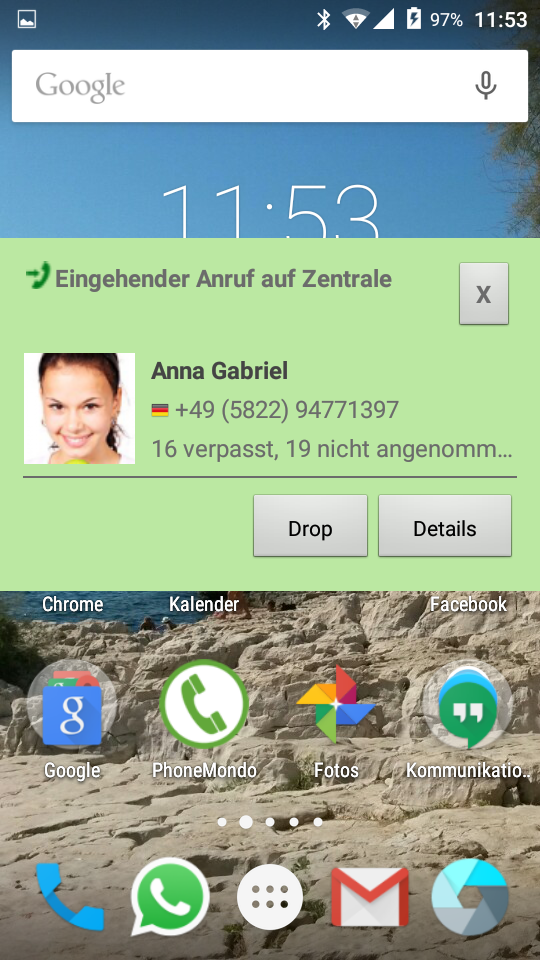 PhoneMondo Android App Anrufbenachrichtigung